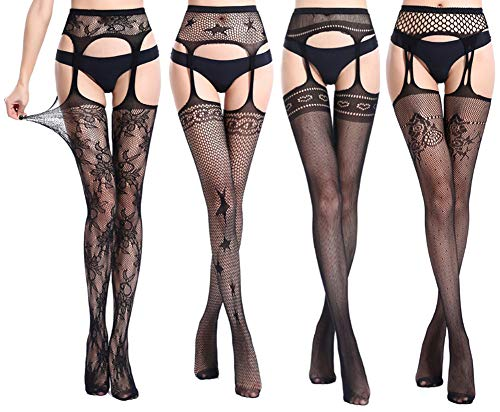 Suspender Pantyhose Style (QandSweet Womens Stockings Thigh High Sexy Fishnet Lace Suspender Pantyhose Stretchy 4-Pack)