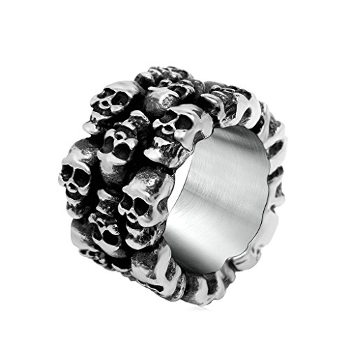 (KnSam Men Rings Black Silver Stainless Steel Laminated Skulls Ring Size 12)