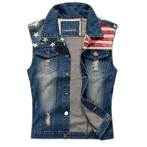 FantasticLife FL Men's Comfortable Slim Fit American Flag Demin Jacket Sleeveless Vest (S) Blue