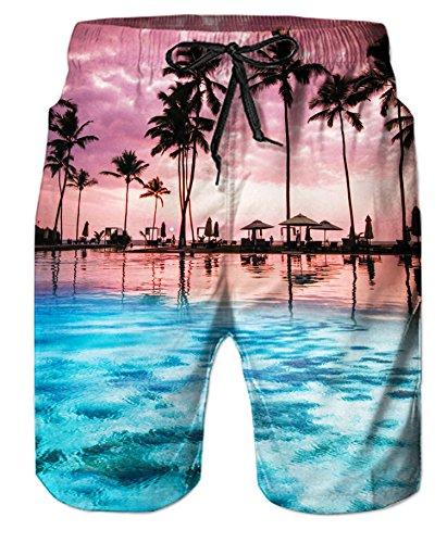 Belovecol Cool 3D Print Summer Swim Tunks for Mens Hawaii Graphic Loose Beach Shorts XXL