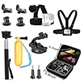 VVHOOY Action Camera Middle Carry Case Head Chest Strap Mount Selfie Stick Floating Handle Grip Suction Cup Mount Accessories Compatible Crosstour 4K Underwater Camera Activeon CX AKASO Action Cam