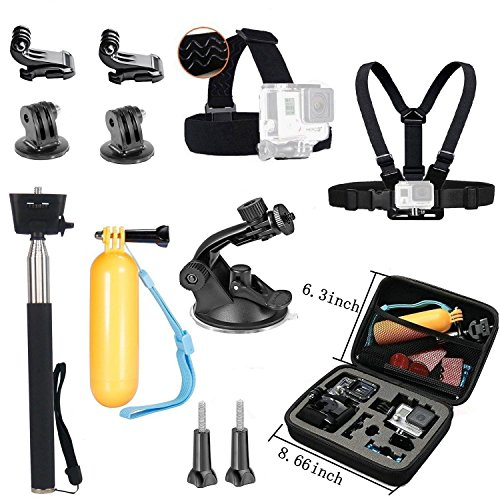 VVHOOY Action Camera Middle Carry Case/Head Chest Strap Mount/Selfie Stick/Floating Handle Grip/Suction Cup Mount Accessories Compatible for Crosstour 4K Underwater Camera/Activeon CX/AKASO Action Cam