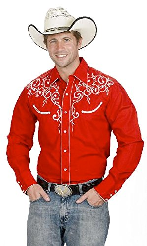 Men's Cotton Blend Retro Leaf Embroidery Western Shirt-Red-Large