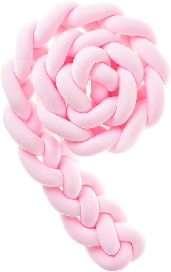 Rose 2.2m Icegrey Tour De Lit 4 Tissage B/éb/é Coussin Serpent Tress/é Pare-Choc Velours Protection lit Bumper P/épini/ère pour Les Nouveau-N/és Lit Chambre D/écor avec Sac /à Linge