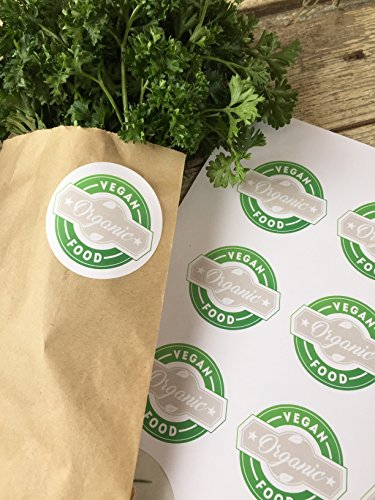 Vegan Organic Food Label, Vegan Food Label, Organic Food Label, Farmer's Market Labels, Fruit Stand Labels, Organic Farm, Hobby Farm