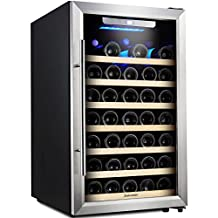 Kalamera 50 Bottle Freestanding Stainless Steel Door Compressor Wine Refrigerator with 7 Removable Wooden Shelves Electronic Controls