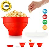 hot air popcorn cooker - BPA Free Premium Popcorn Microwave Popper Bowl Collapsible with Lid & Heart Shaped Cool Touch Handles Healthy Hot Air Popcorn Slicone Cooker for Home