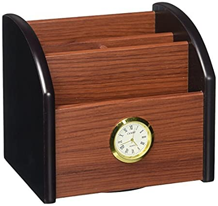 Amazon.com : eDealMax Madera escritorio de oficina decoración del reloj de Base giratoria Regla Lápiz Titular de la Pluma de contenedores (a16062300ux0220) ...
