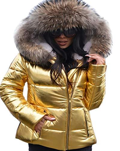 Coat Alta Addensare Fur 3xl Gi�� S Roiii Faux Jacket Parka Taglia Donna Metallizzato Inverno Vita Dorato WfnWaqPH