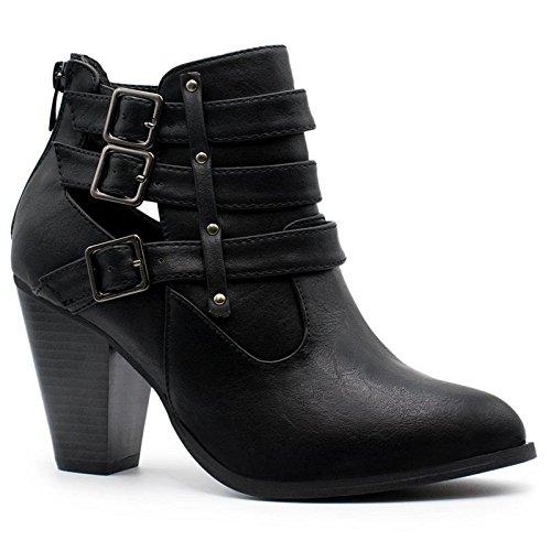 Forever Women's Buckle Strap Block Heel Ankle Booties Premier Black Premier Black 9 B(M) US