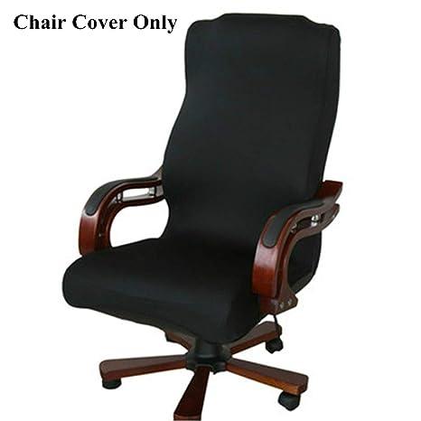 Funda de silla Caveen, con un estilo simple, elástico y extraíble, para oficina, sillones o sillas, negro, Medium