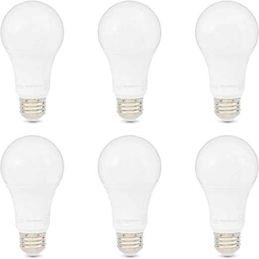 Amazon Basics 100w Equivalent Daylight Non Dimmable 10 000 Hour Lifetime A19 Led Light Bulb 6 Pack