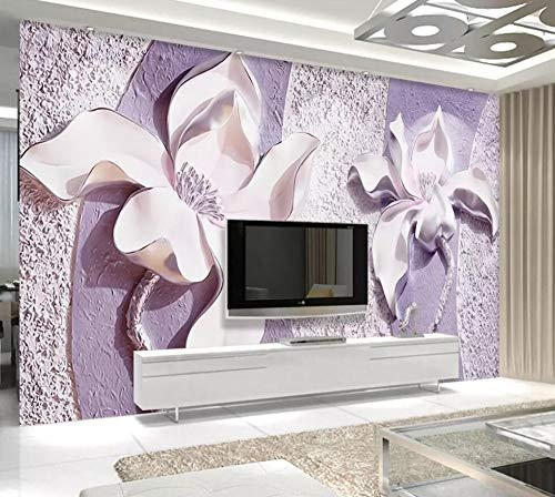 Wallpaper 3D Mural Embossed Purple Magnolia Wall Murals for Living Room and Bedroom Wall Decor ()