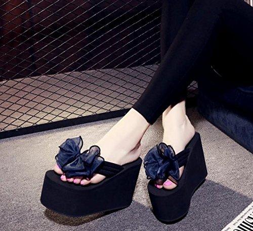37 12cm Bow slippers 5 UK 5 tie waterproof 7 flops Beach heel blue bottom women's Non slip High Slope 4 Thick US flip EU AWXJX qw7xafH7