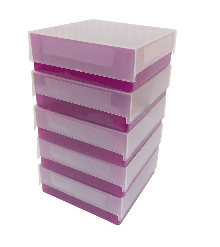 Argos Technologies R3119 Purple Polypropylene 81 Place Microcentrifuge Tube Freezer Storage Box with Clear Lid for 0.5/1.5/2.0mL Microcentrifuge Tubes (Pack of 5) - ARG-R3119