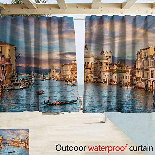 (AndyTours Rod Pocket Top Blackout Curtains/Drapes,Venice Gondola on Famous Canal Grande with Basilica di Santa Maria Della Salute in Evening,Simple Stylish Waterproof,W63x72L Inches,Blue Cream)