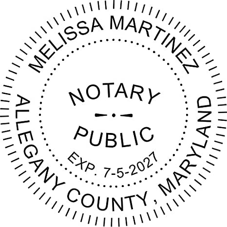 Round Notary Pre Inked Stamp For State Of Maryland Customized In One Day With