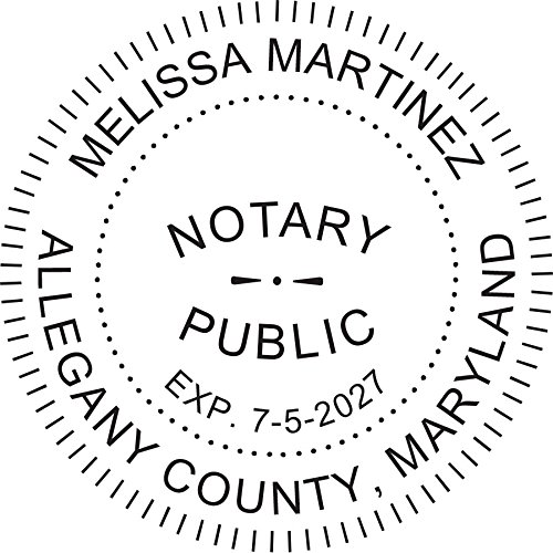 Round Notary Pre-inked Stamp for State of Maryland- Customized in one day with