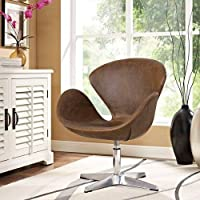 Modway Flight Vinyl Lounge Chair, Twin, Brown