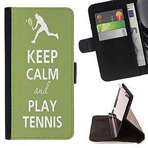 Dragon Case- Caja de la carpeta del caso en folio de cuero del tir¨®n de la cubierta protectora Shell FOR Sony Xperia Z1 M51W Z1 mini D5503- Keep Calm and Play Tennis