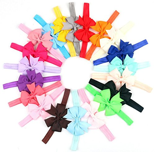 [WINCAN Baby Girls Boutique Wave Colorful Hair Flower Headbands Elastic Hair Bands Pack Of 20] (Indian Mens Braid Adult Wig)