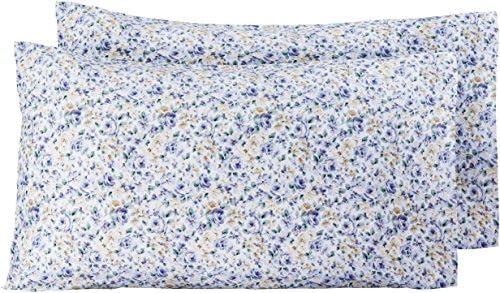 AmazonBasics - Funda de almohada de microfibra, 2 unidades, 50 x 80 cm - Azul floral