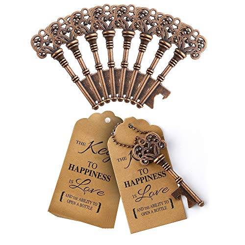 Febou 60 PCS Key Bottle Openers with Chains, Cards Tags with Blessings, for Antique Rustic Wedding Favors Bridal Shower Favors Wedding Party Guests (Style 1)