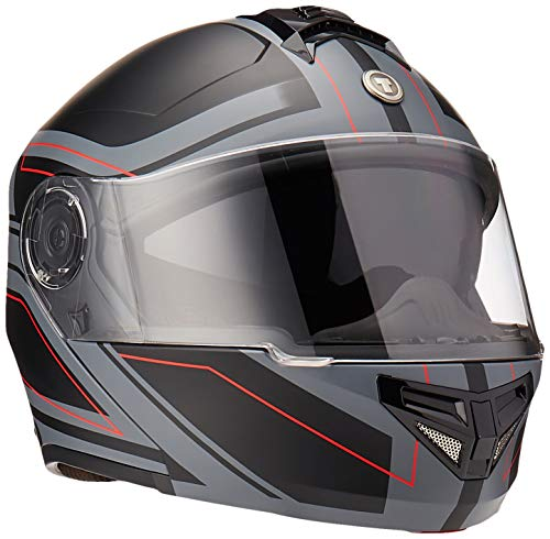 TORC Unisex-Adult T27 Full Face Modular Motorcycle Helmet with Graphic and Flip-Down Sun-Shield (Blade, Medium) (Flat Black