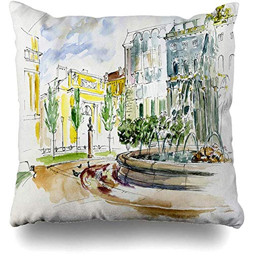 Throw Pillow Cushion Cover Case Park Ancient City Fountain St Petersburg Pen Sketch Amenity Green Architectural Drawing Design Stain Home Decor Design Square Size 18