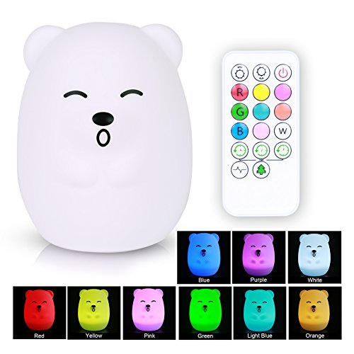 XFunino LED Baby Night Light Soft Silicone Night Lamp Kids Christmas Lights Children Nursery Lamps RGB Tap Control + Remote Control, 9 Colors Changing Breathing 4 Light Modes, Rechargeable Bear Light by XFunino