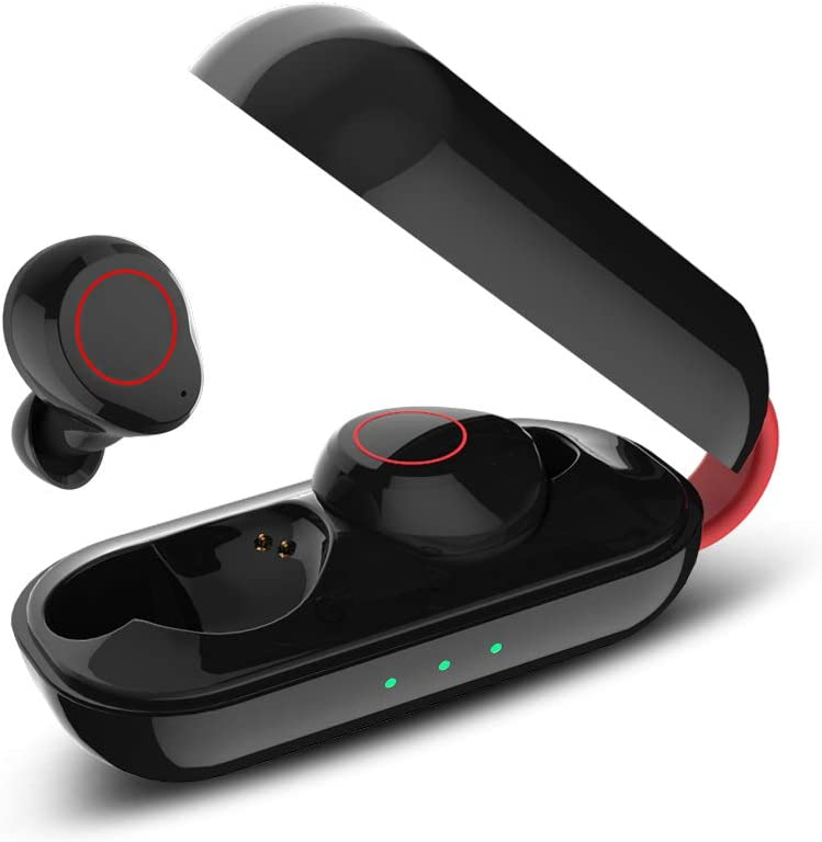 True Wireless Earbuds with Deep Bass HiFi 3D Stereo Sound,Bluetooth 5.0 Playtime,Bluetooth in-Ear Headset with Built-in HD Mic and 500mAh Charging Case,Fast Pairing IPX6 Waterproof