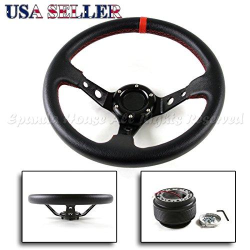 Aftermarket Honda Wheel - 96-00 Honda Civic EK USA Deep Dish Red Stitch Aftermarket Steering Wheel + Hub Boss Kit