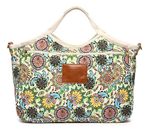 Hobo Casual Vintage Flower Green Women's Shopper Purse Handle Canvas Flower Handbag Daily Tote Top Green Shoulder Ladies Malirona xgn4wSg