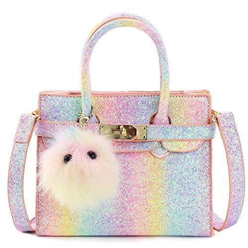 Girls Purse Handbag (CMK Trendy Kids Toddlers Fashion Purses for Little Girl Kid Crossbody Handbag Purse (Pink Blue Rainbow))