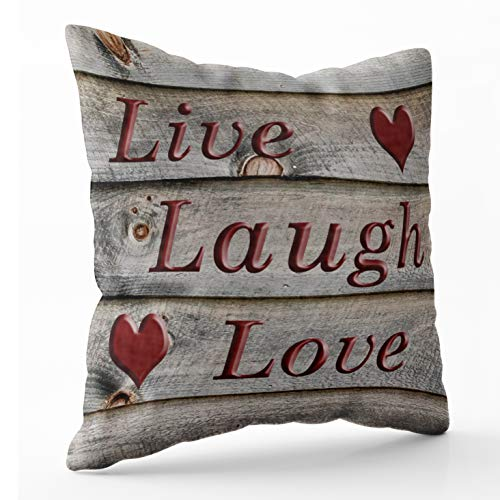 Shorping Zippered Pillow Covers Pillowcases 16X16 Inch live laugh love on the side of a barn Decorative Throw Pillow Cover ,Pillow Cases Cushion Cover for Home Sofa Bedding