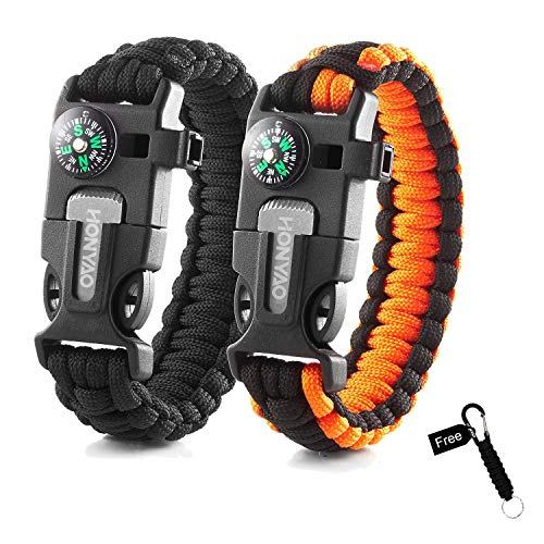 HONYAO Paracord Bracelets, Set of 2 Mini Outdoor Camping Hiking Gear w/Rescue Rope, Compass, Scraper, Whistle, Flint Fire Starter, Ideal Wilderness Adventure Survival Kit