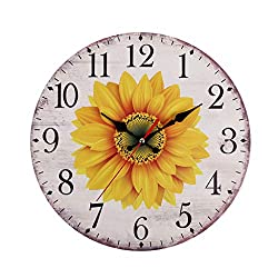 Pinleg Wall Clock, Kitchen European Retro Clock Battery Operated Large Easy to Read Vintage Wooden Style Pastoral Wind Sunflower Wall Clock Home Living Room Decorative Wall Clock 30cm (D)