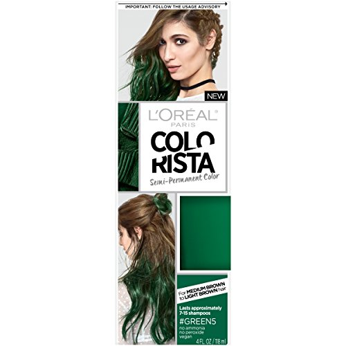 L'Oreal Paris Hair Color Colorista Semi-Permanent for Brunette Hair, Green
