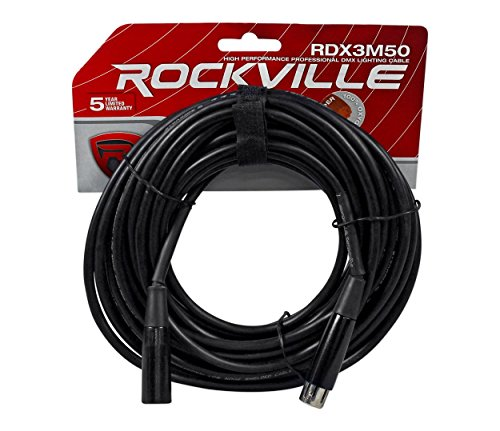 Connection 3 Xlr Pin - Rockville RDX3M50 50 Foot 3 Pin DMX Lighting Cable 100% OFC Copper Female 2 Male