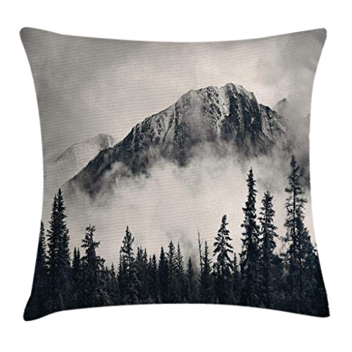 """Ambesonne National Parks Throw Pillow Cushion Cover, Canadian Smokey Mountain Cliff Outdoors Idyllic Scenery Photo Artwork, Decorative Square Accent Pillow Case, 20"""" X 20"""", White and Black"""