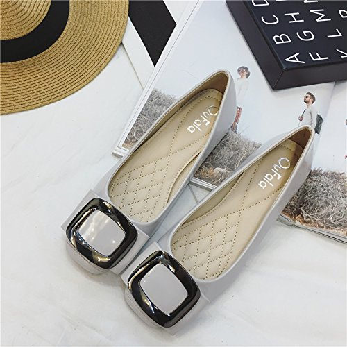 YFF The new square head metal side buckle with shallow flat mouth women flat shallow shoes,pink , 39 casual all-match B072XJ9DDJ Parent 572c37