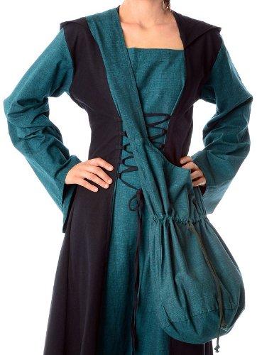 Beige en Rojo Negro Bolso medieval L hombro Marrón Verde Azul Verde algodón HEMAD de HwqSx0T4T
