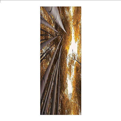 Decorative Privacy Window Film/Bottom to Top Bamboo Grove Fall Landscape Potential for Improvement Symbol Print/No-Glue Self Static Cling for Home Bedroom Bathroom Kitchen Office Decor Yellow Brown