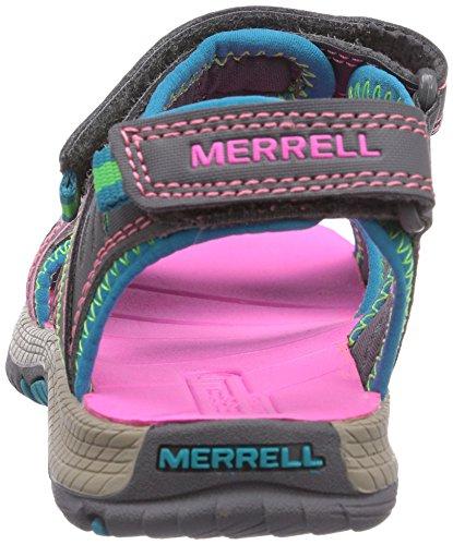 Merrell PANTHER SANDAL - Sandalias Deportivas de material sintético infantil Multicolor (Grey/Turquoise)