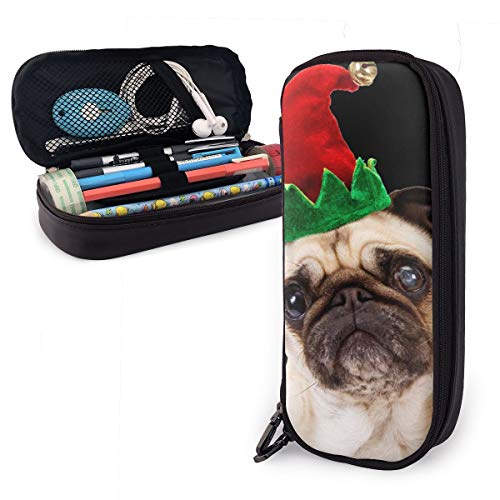 Pen Pencil Case PU Leather Pug Dog Christmas Zippered Pouch for Men Organizer Artists Stationery Bag Holder Students…