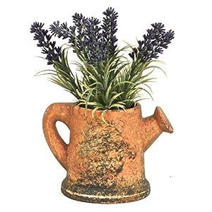Artificial Lavender Flower in Rustic Kettle 94
