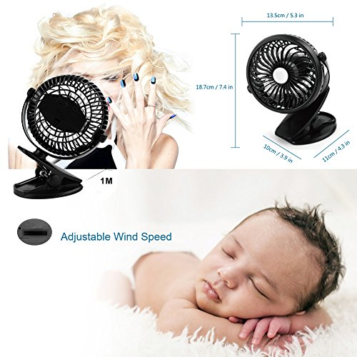 Per USB Rechargeable Mini Fan With Clip 5.91In Desk Fans 360° Rotation Adjustable Wind Speed For Home Office Stroller Portable-With 2600mAh Battery by Per (Image #4)