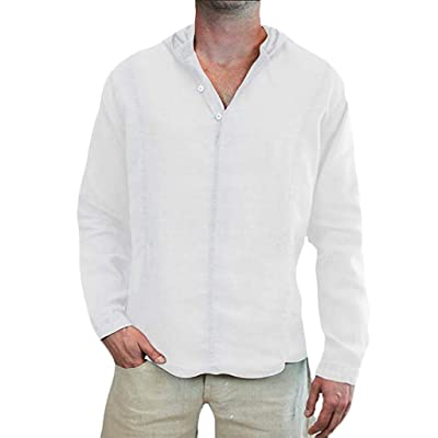 Corriee Fashion Tops for Men Comfy Cotton Linen Long Sleeve Solid Color Loose Pullover Blouse Mens Spring Thin Hoodies: Clothing