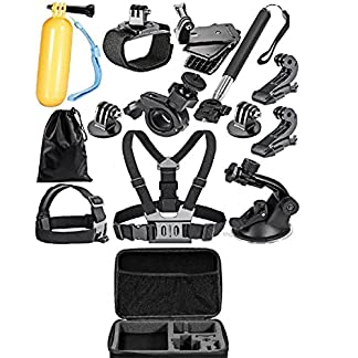 Yantralay 13 in 1 GoPro Accessories Kit for Hero 7 6 5 4 3+ 3 2 1, SJCAM SJ4000 SJ5000, Yi & Other Action Cameras with Carrying Case Large (14 Items) 51FBK9xR24L