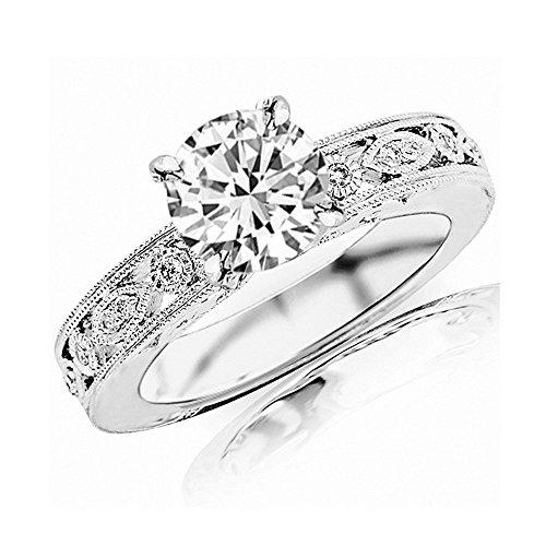 1.24 Carat 14K White Gold Antique/Vintage Bezel Set Designer Round Cut Diamond Engagement Ring With Milgrain (0.99 Ct K Color SI1 Clarity Center Stone) ()